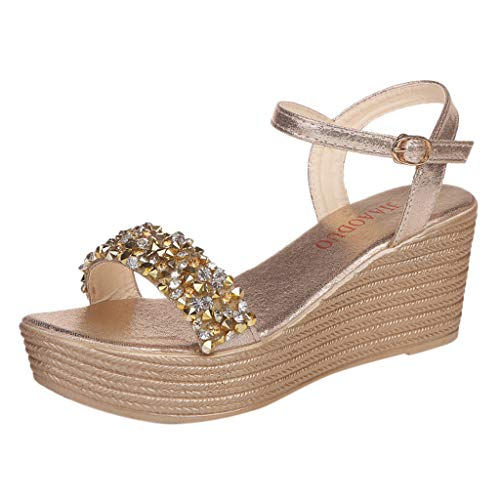 Sandalias Mujer Verano 2019 cuña Bohemias Casuales Zapatillas Hebilla Romanas Rhinestone Playa Gladiador Verano Tacon Planas Zapatos Cómodos riou