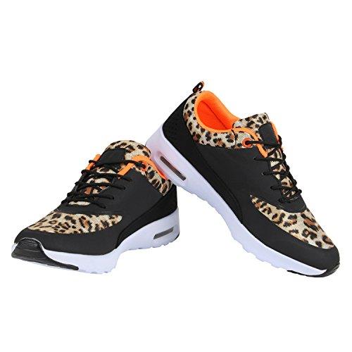 Damen Sportschuhe | Runners Sneakers | Laufschuhe Fitness | Trendfarben | Sportliche Schnürer Leopard