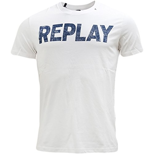 Replay Men's Men's Blackboard T-Shirt With Print 100% Cotton Weiß