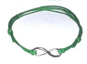 Hippy Silver Infinity wish friendship bracelet GREEN