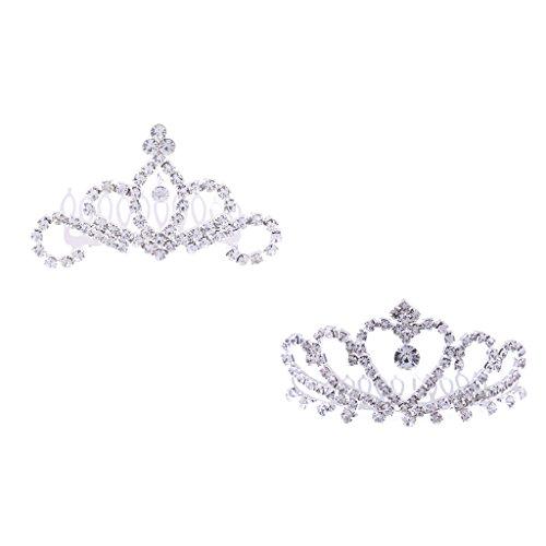 P Prettyia 2stk. Mini Krone Tiara Haarspange Haar Accessoire mit Strassstein Dekoration, geeignet für alle Haarstyling (Silber Mini-tiara)
