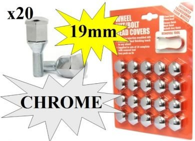 Hexagon Wheel Nuts Covers Pack of 20 - ABS Plastic (19mm Chrome) High Quality Finish