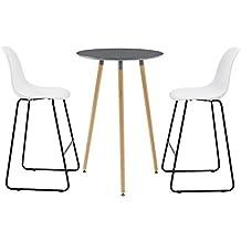 [en.casa] Runder Tisch Bartisch Retro Design Dunkelgrau + Barhocker Im 2er
