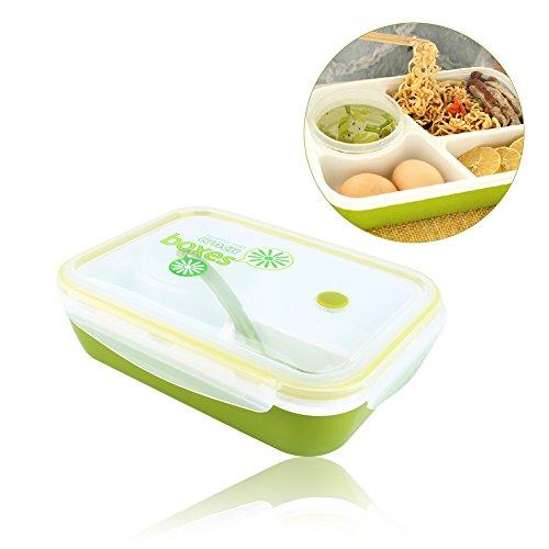 Yosoo Microonde Contenitori Alimentari per Pranzo Ermetico 4 Scomparti Bento Box, 4 in 1 con 3 Scomparti + 1 Ciotola + 1 Cucchiaio - Verde