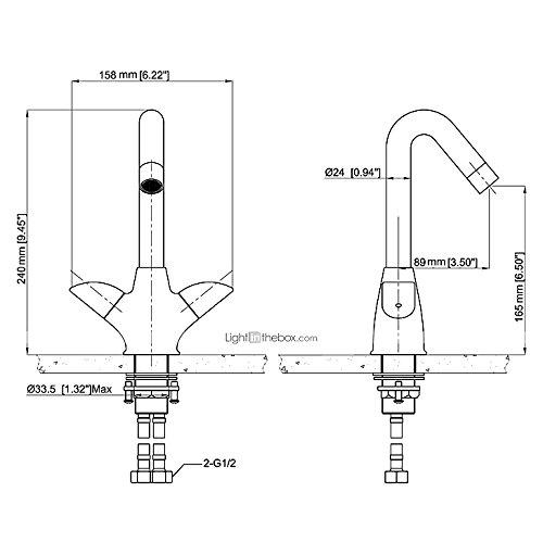 AI LI WEI Bathroom Furniture - Centerset Two Handles Brass Bathroom Sink Faucet-Chrome Finish