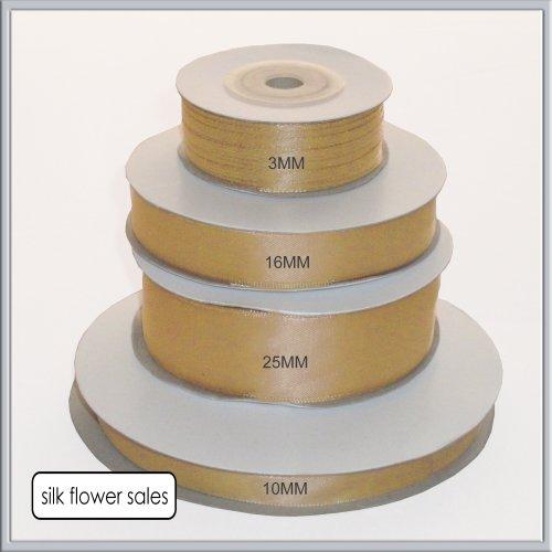 50 metros 10 mm anchura color oro antiguo Cinta de raso de doble cara carrete completo artesan/ía regalo florister/ía