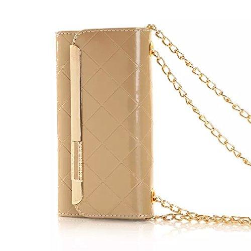 Aeontop 4 en 1 Disegno di vibrazione dellunit¨¤ di elaborazione della Custodia Caso Case Smart Cover Copertura del cuoio del basamento della copertura con tracolla a catena carta di credito slot per  #02 Oro