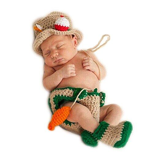 Handgefertigt Infant Newborn Baby Mädchen Boy Crochet Knit Fisherman Hat Hose Fisch passt Fotografie Requisiten OUTFITS (Kostüm Baby Fisch)