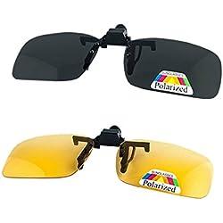 2 pares de gafas de sol unisex Clip en lentes polarizados de visión nocturna, protección UV400 antirreflectante Drivingv caza esquí Deportes al aire libre gafas de visión nocturna, amarillo + gris