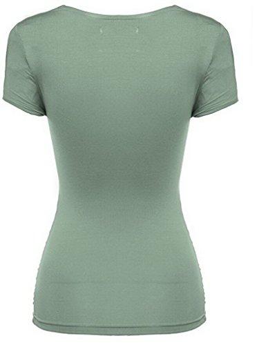 Smile YKK Top Uni Femme Coton T-shirt Manche Courte Chemise Col V Blouse Casual Eté Croisé Vert Léger