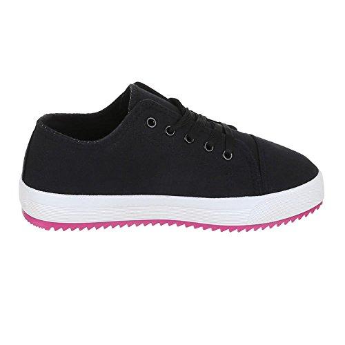 Chaussures femme, AC 21, de loisirs chaussures lacets Sneakers Noir - Noir