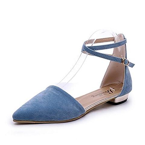Élégant Femmes plat de sandales Sexy Crossing ankle-strap Evidé Chaussures Sandales en nubuck - Bleu - bleu,