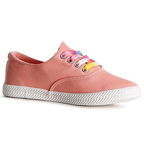 topschuhe24 1110 Damen Sneaker Turnschuhe plus 2. Schnürsenkel Korall
