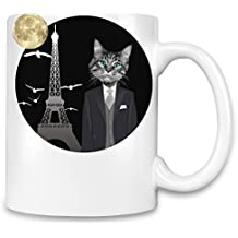 Hipster Cat In Paris Funny Taza para café