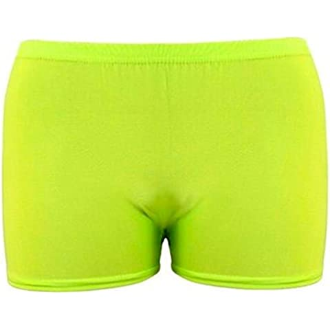 Womens Girls Sexy Neon, Neon, Pantaloncini In Lycra, colore: rosa shocking e colori vivaci