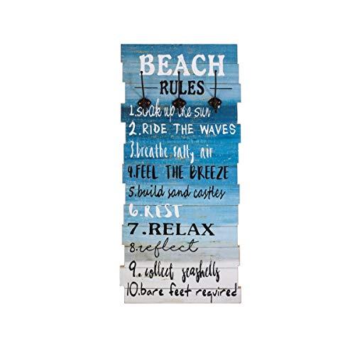 Pureday Garderobe Beach - Wandgarderobe - Maritim - Holz - Blau - ca. B44 x H100 cm