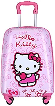 MissTiara - 18 Inch Lightweight Kid's Travel Luggage suitcase Children School Trolley bag Cartoon Rolling Bag on wheels (Kitt