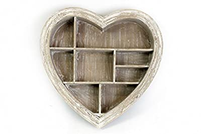 Wooden White Washed Heart Shape Rustic Wall Hanging Shelf Display Unit Storage