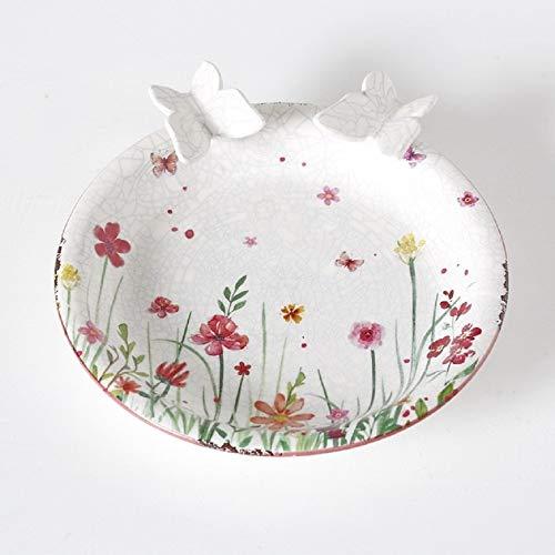 Home Collection Vogeltränke Blumenwiese mit Schmetterlingen 25cm Steingut Garten Deko Vintage Rosa Weiß