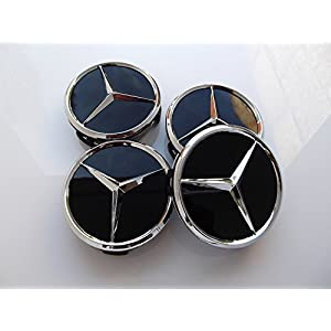 4Nabenkappen mit Logo Mercedes, 75mm,für Alufelgen