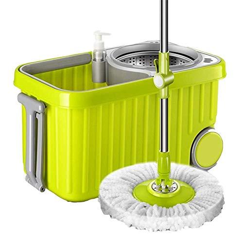 YIIY Set per centrifuga e Secchio Set-360 Gradi di filatura con Due Teste di Scopa