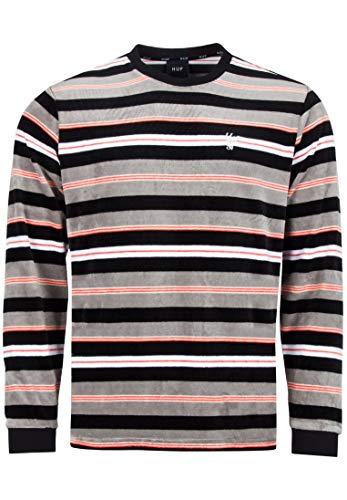 HUF Unveil Stripe Velour Longsleeve - Black - L