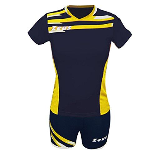 Zeus Kit Itaca Donna Damen Volleyball Trikot Hose Shirt Indoor Handball Training Ausbildung Blau Gelb (XL)