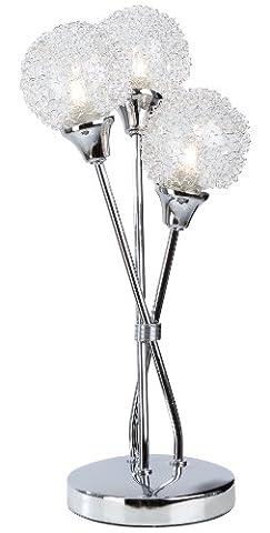 Nino Leuchten Halogen-Tischleuchte Spider / Höhe: 35 cm , Durchmesser: 6.5 cm / chrom, Glaskugel mit Drahtgeflecht / 3-flammig 50360306