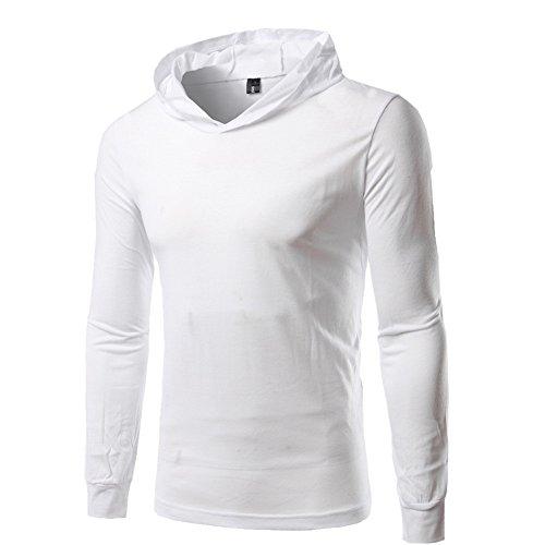 BOMOVO Herren Langarm Fashion Freizeit Langarm Shirt Slim Fit mit Kapuze Weiß