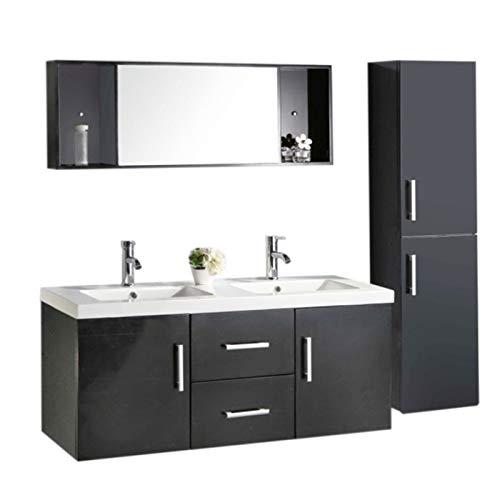 Grafica ma.ro srl mobile bagno + colonna completo modello malibu 120 cm doppio lavabo rubinetti inclusi