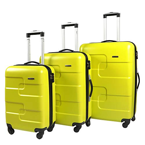 Vesgantti 3 Piece Lightweight Hard Shell Luggage Set - Yellow Green