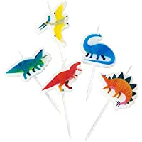 Talking Tables Tropical Dino Dinosaur Birthday Candle Cake Toppers, Wax, Mixed Colours