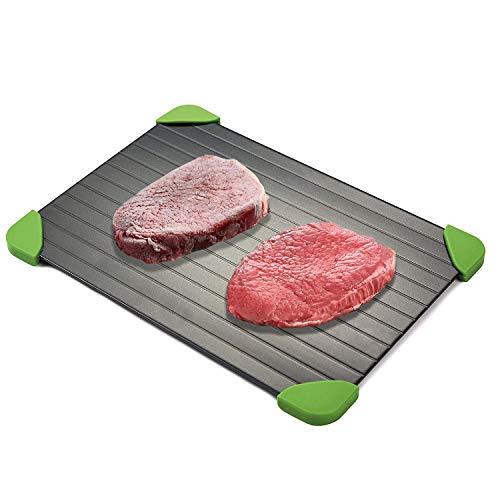 Fast Defrost Tray | Aluminium Rapid Auftauplatte Tablett mit Silikon Ecke für Fleisch, Fisch oder Andere Schnell Tiefkühlkost Auftauen | KEINE Mikrowelle, KEIN Strom, KEIN Chemie, Antihaftmittel