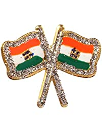 Dhwaj Indian Flag Coat Pin / Brooch / Badge for Clothing Accessories (Pack of 12)- National Flag Pin with Silver Zari outline