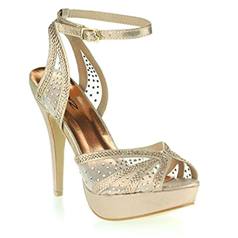 Women Ladies Diamante Peeptoe Platform Ankle Strap Slim High Heel Evening Party Wedding Prom Bridal Stiletto Champagne Sandals Shoes Size