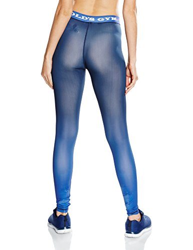 Golds Gym Ladies Gradient Printed Long Gym, Leggings de Sport Femme Bleu Marine