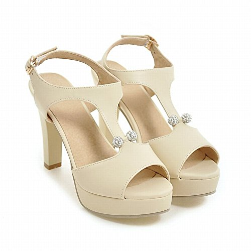 Mee Shoes Damen high heels Plateau Schnalle Sandalen Beige