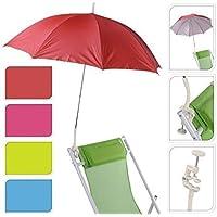Sombrilla con protección UV, para jardín, terraza, balcón, playa, con tornillos y abrazaderas para ajustar en la silla, parasol, paraguas, Rot 147400