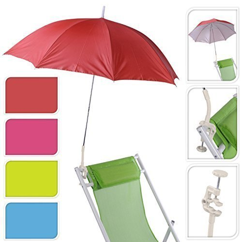 Garden Patio Balcony Beach Deck Chair Clip On Screw Clamp Umbrella Parasol UV Protection Sun Shade Rain Brolly (Red 147400)