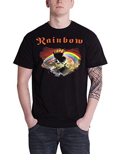Rainbow T Shirt Rising Album Cover Band Logo offiziell Herren Nue Schwarz (Rainbow Band Baumwolle)