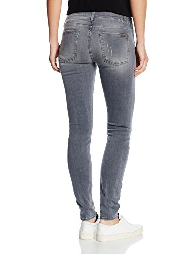 7 For All Mankind Damen Jeanshose the Skinny Grau (Slim Illusion Ivory Grey Distressed 0GY)