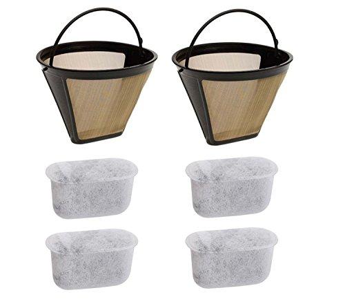 Wadoy Federboa Gold Kaffee Filter mit Holzkohle die Filter für Cuisinart Maschinen und Brewers Membran Stil # 4Ton Permanent 6–12Cup waschbar wiederverwendbar