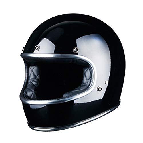 Casco moto uomo donna integrale in fibra di vetro brillante vintage jet off road caschi moto-nero brillante, m