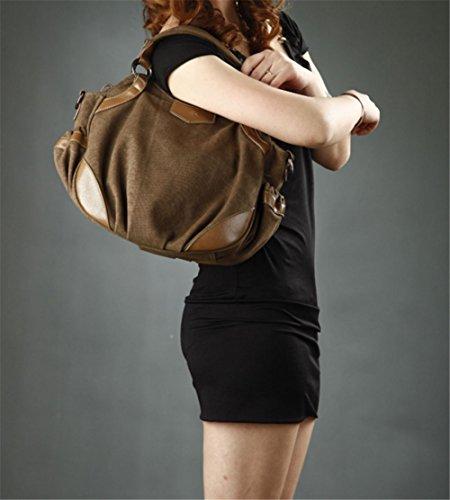 Wealsex damen Canvas handtasche vintage elegant umhängetasche 38/27/13cm Braun
