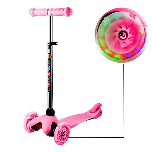 Kleinkinder Kinder Roller Scooter 3 Räder mit Leuchträdern und Verstellbare Lenker für Kleinkinder, Mädchen oder Jungen (Rosa 3)
