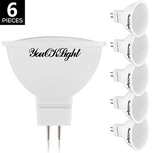 YouOKLight AC/DC12V, MR16 GU5.3, 5W LED Glühbirnen, 40W Äquivalent, Warm Weiß 3000K, Nicht dimmbar, 120 ° Strahlwinkel, Einbauleuchten, Schienenbeleuchtung, 6er Pack