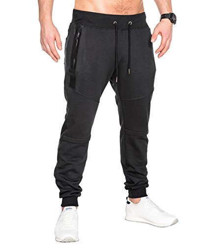 BetterStylz SlvrCatBZ Jogginghose Sportswear Tech Fleece Jogger Sweatpant 3 Farben (S-XXL) (Medium, Schwarz)