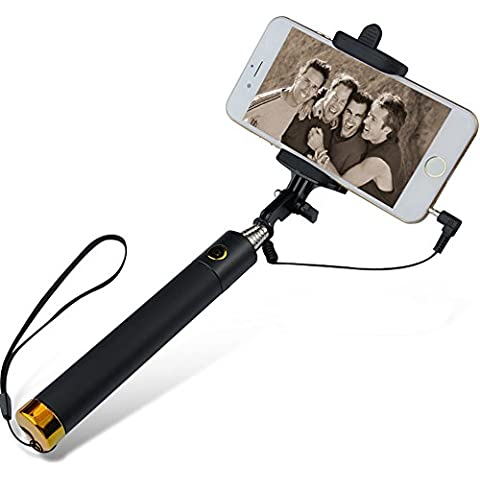 Monopié plegable Tamaño de bolsillo alámbrico Selfie Stick construido en botón para Apple iPhone6s 6S Plus 66Plus 5G, 5S, 5C y 54G 4S, Samsung e3309t Galaxy Ace 3Express Note 2345Edge S3, S4, S4mini, S5S6S6edge