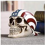 FJCY Decorazione di Halloween Bandiera in Stile Americano Resina Cranio Scultura Accessori per la casa Decorazione Scheletro Horror Statua di Halloween Deco