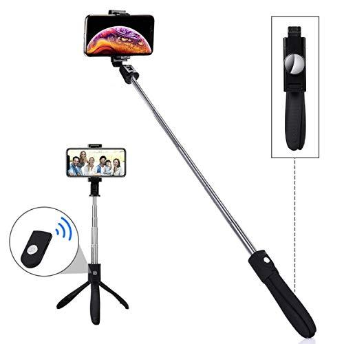 LATEC Selfie Stick Stativ, Erweiterbarer Bluetooth Selfie Stange Stab 360°Rotation mit kabelloser Fernbedienung und Stativständer Selfiestick für iPhone Samsung Huawei Xiaomi LG HTC 3,5-6 Zoll Handy -